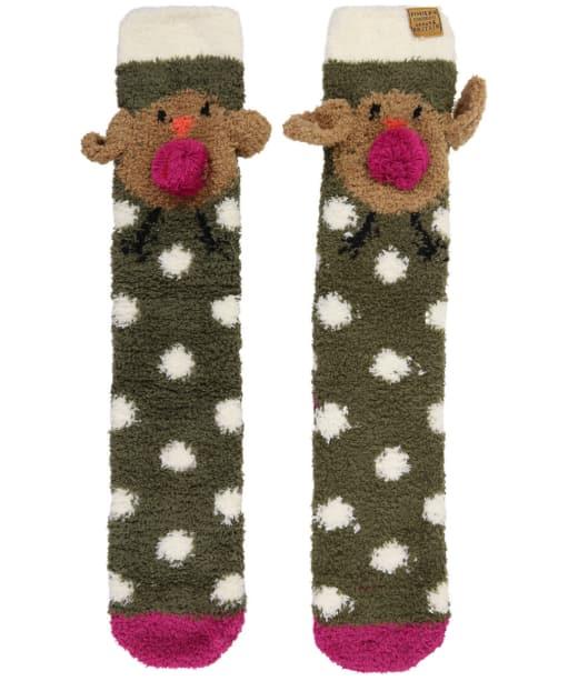 Women's Joules Festive Fluffy Character Socks - Robin