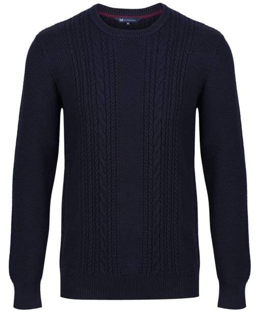 Men's Crew Clothing Northam Cable Knit Sweater - Dark Navy