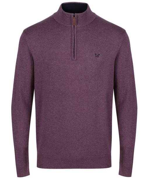 Men's Crew Clothing Half Zip Sweater - Washed Plum Marl