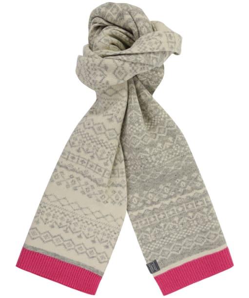 Women's Joules Elsa Fairisle Knitted Scarf - Grey