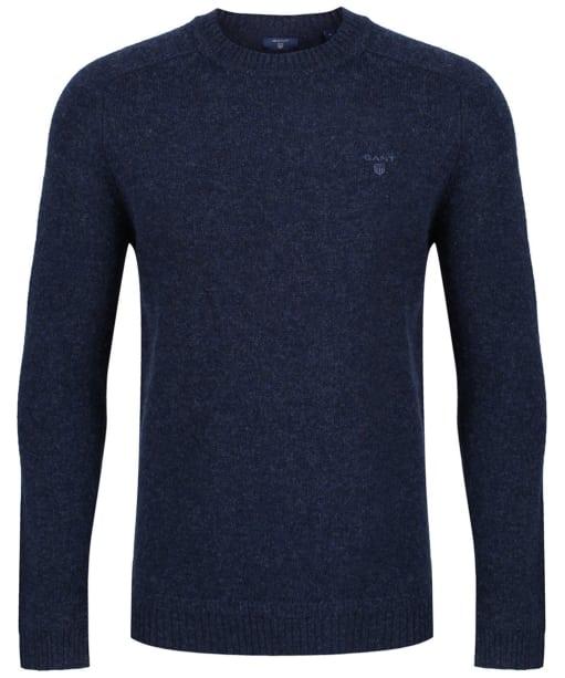 Men's GANT Shetland Crew Sweater - Dark Navy Melange