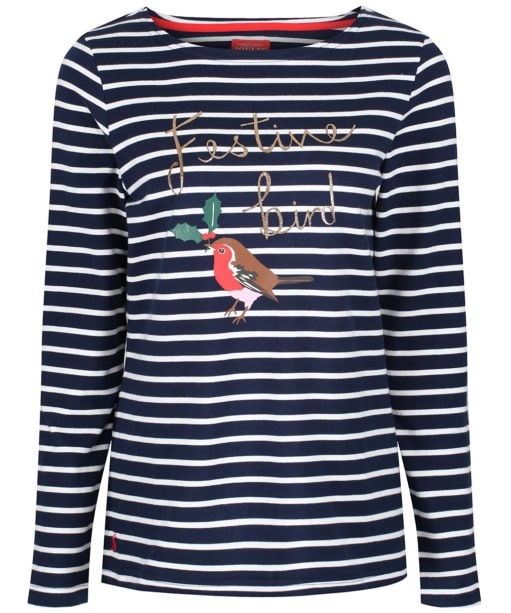 Women's Joules Harbour Print Jersey Top - French Navy Bird