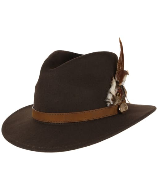 Women's Hicks & Brown The Suffolk Fedora - Gamebird Feather - Brown