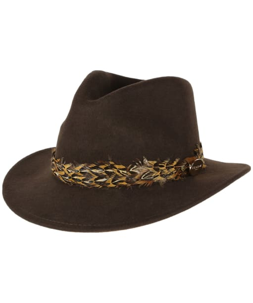 Women's Hicks & Brown The Suffolk Fedora - Pheasant Feather Wrap - Brown