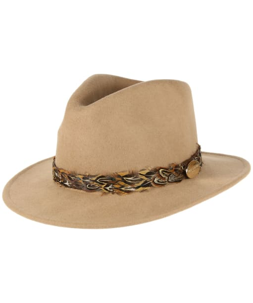 Women's Hicks & Brown The Suffolk Fedora - Pheasant Feather Wrap - Camel