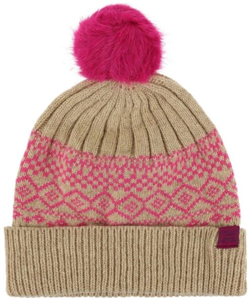 Women's Joules Elsa Fairisle Knitted Hat - Cream