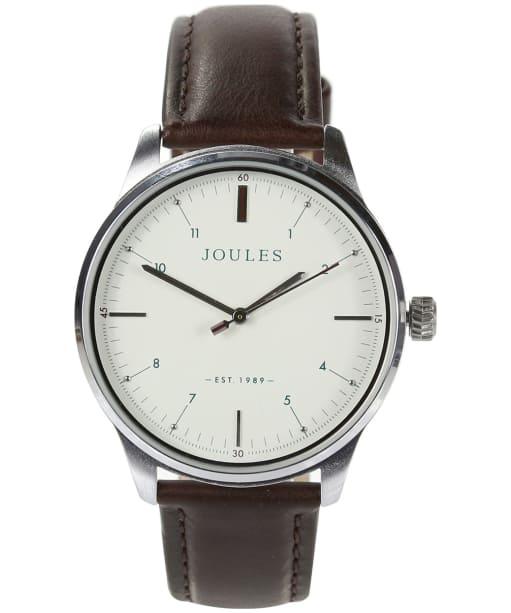 Men's Joules Aldous Leather Strap Watch - Matte Cream / Brown