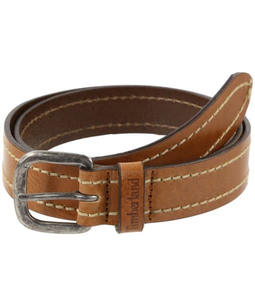 Timberland Heavy Stitch Leather Belt - Cognac