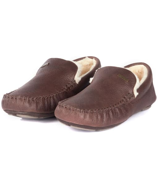 Men's Barbour Monty House Slippers - Dark Brown Leather