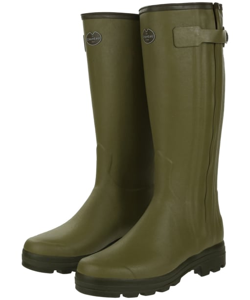 Men's Le Chameau Chasseur Leather Lined Wellington Boots - 43cm calf - Vert