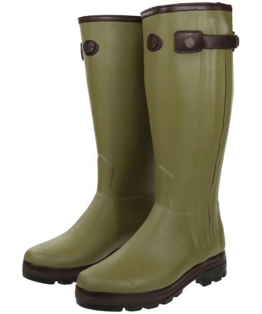 Men's Le Chameau Chasseur Cuir Prestige Wellington Boots - Vert Vierzon