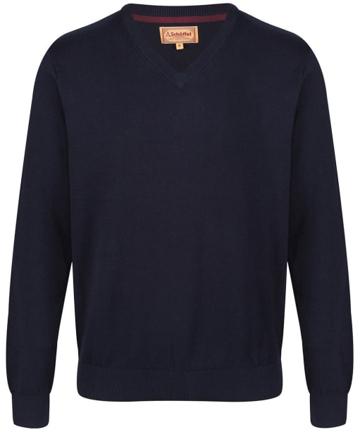 Men's Schoffel Cotton and Cashmere V Neck Jumper - Navy