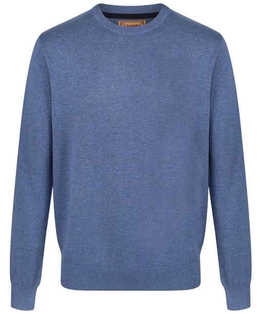 Men's Schoffel Cotton/Cashmere Crew Neck Jumper - Stone Blue