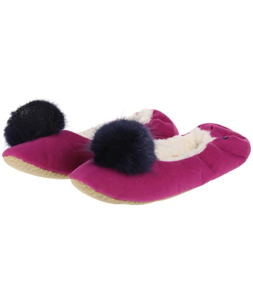 Women's Joules Slippoms Pom Pom Slippers - Deep Fuchsia