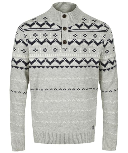 Men's Crew Clothing Fairisle Half Button Sweater - Charcoal Marl