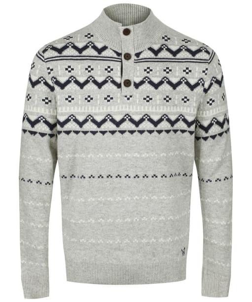 Men's Crew Clothing Fairisle Half Button Sweater - Charcoal Marl
