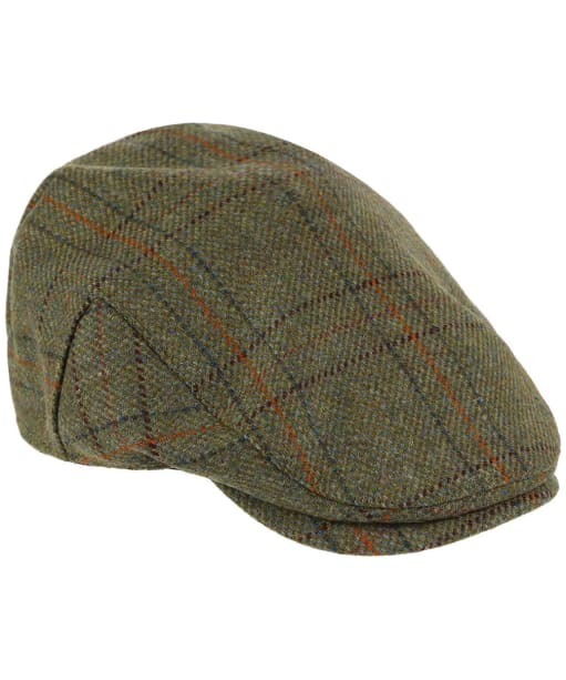 Heather Kinloch Waterproof British Tweed Flat Cap - Light Olive Check
