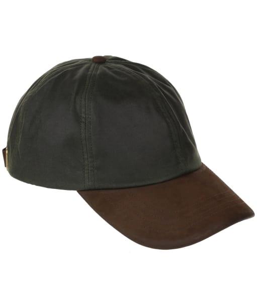 Heather Hamilton Wax Leather Peak Baseball Cap - Olive