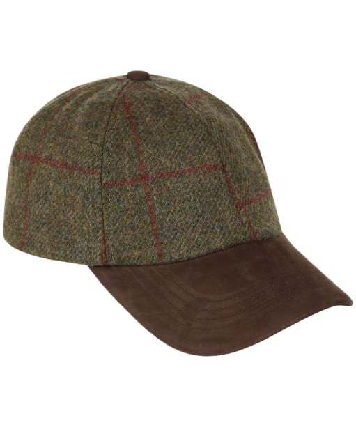 Heather Tyndrum British Tweed Leather Peak Baseball Cap - Brown / Red Check