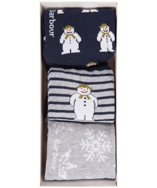 Barbour Kids 'The Snowman™' Layton Sock Gift Set - Navy / Grey