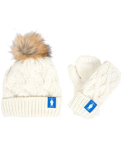 Girl's Barbour 'The Snowman™' Chloe Beanie and Mitt Gift Set - Cloud
