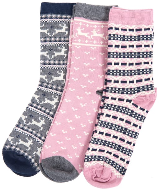 Women's Barbour Fairisle Sock Giftset - Pink Mix