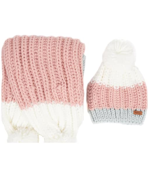 Women's Barbour Colour Block Hat & Scarf Giftset - Pink / Grey Tartan