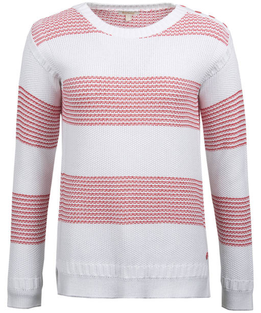 Women's Barbour Fairway Knitted Sweater - Off White / Red