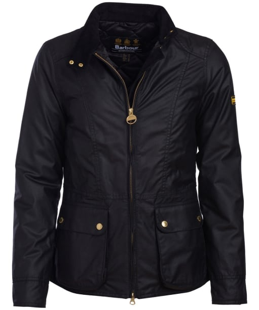 Women's Barbour International Back Flag Waxed Jacket - Black