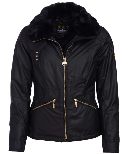 Women's Barbour International Croft Waxed Jacket - Black