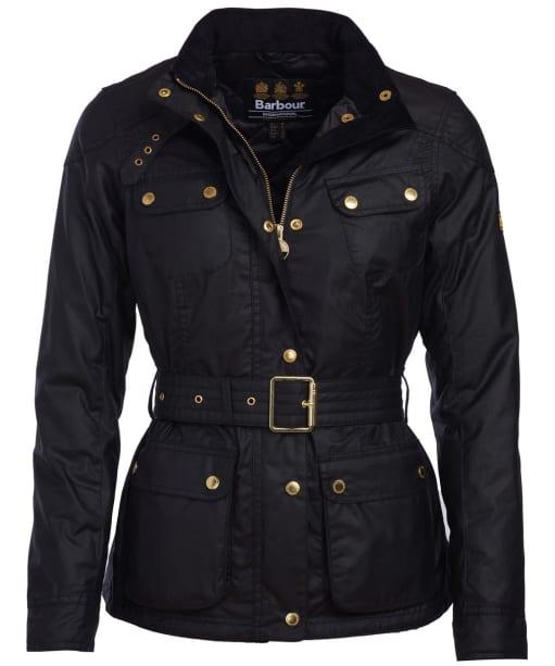 Women's Barbour International Oulton Waxed Jacket - Black