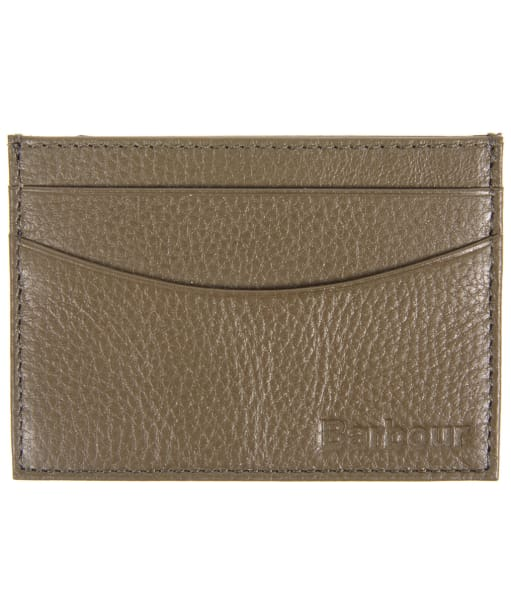 Men's Barbour Milled Leather Card Holder - Olive