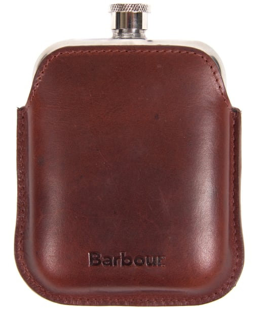 Men's Barbour Leather Hipflask - Dark Brown