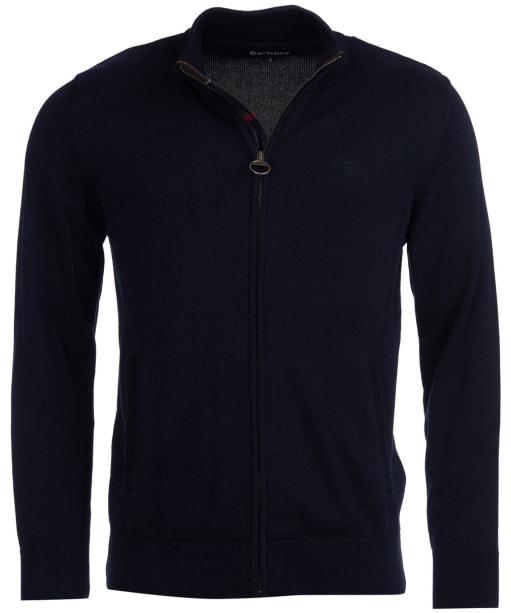 Men's Barbour Cotton Zip Thru Knitted Sweater Jacket - Navy