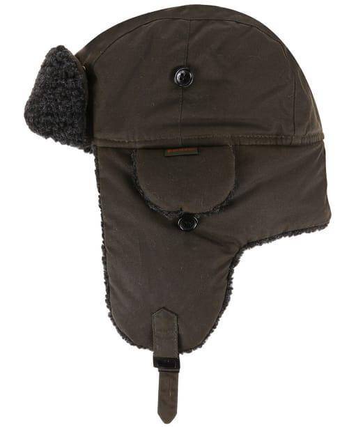 Men's Barbour Fleece Lined Trapper Waxed Hat - Olive