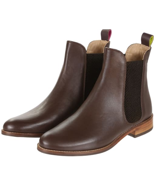 Women's Joules Westbourne Premium Leather Chelsea Boots - Dark Chocolate