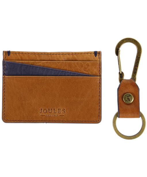 Men's Joules Hobson Leather Card Holder and Keyring Giftset - Tan