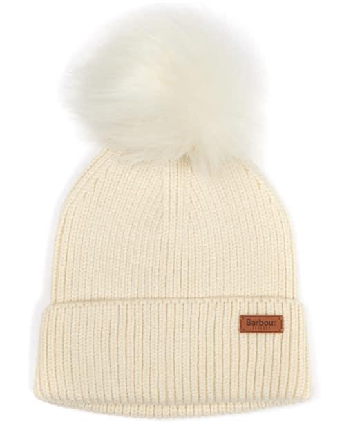 Women's Barbour Dover Pom Beanie Hat - Cream