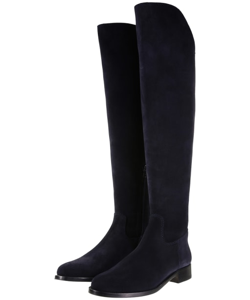 Women's Fairfax & Favor Flat Amira Boots - Navy Blue Suede