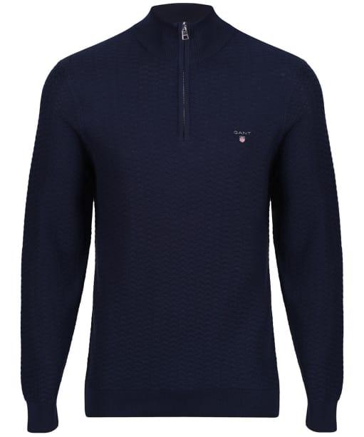 Men's GANT Herringbone Half Zip Sweater - Marine