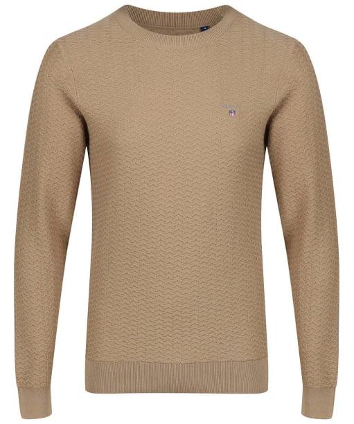 Men's GANT Herringbone Crew Sweater - Wood Brown