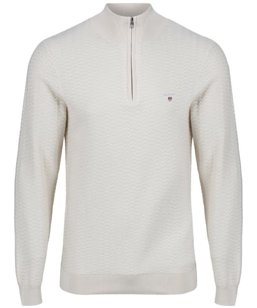 Men's GANT Herringbone Half Zip Sweater - Putty