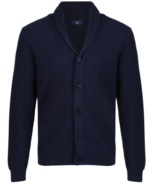 Men's GANT Herringbone Textured Cardigan - Marine