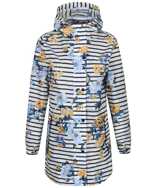 Women's Joules GoLightly Waterproof Jacket - Cream Stripe Floral