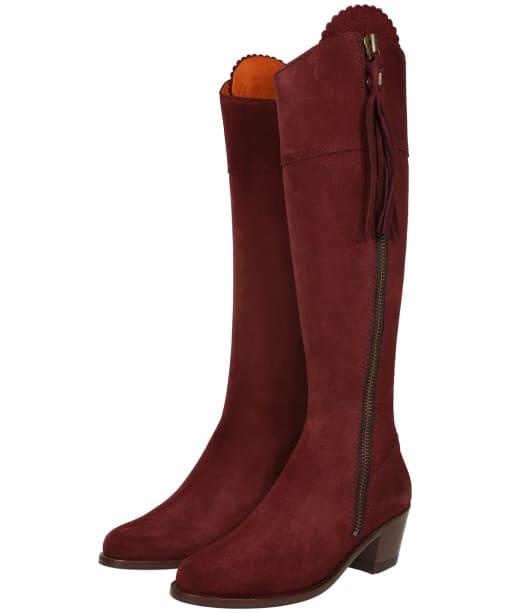Women's Fairfax & Favor Heeled Regina Boots - Oxblood Suede