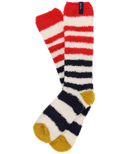 Women's Joules Fabulously Fluffy Socks - Cream / Navy Stripe