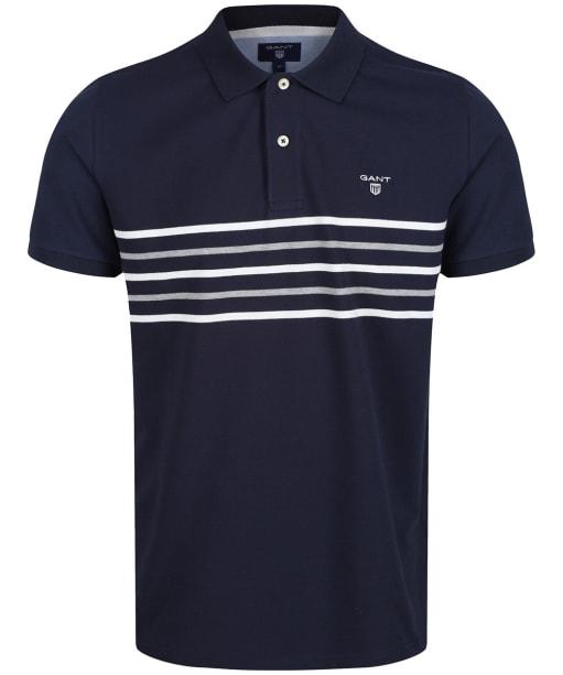 Men's GANT Striped Rugger Polo Shirt - Evening Blue