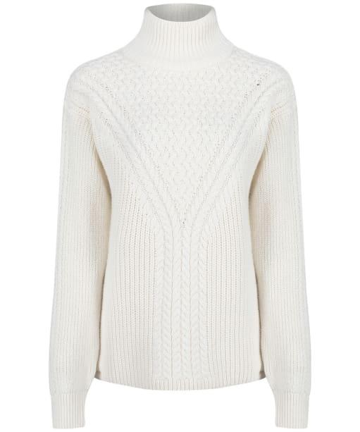 Women's GANT Cable Turtleneck Sweater - Eggshell