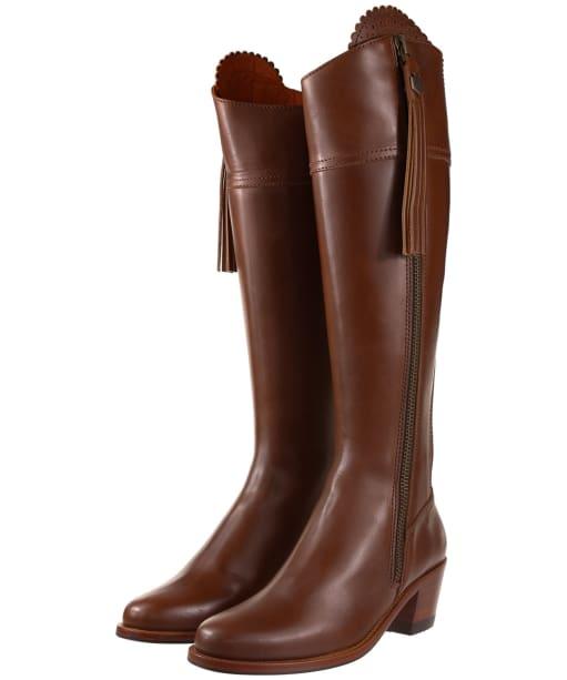 Women's Fairfax & Favor Regina Heeled Leather Boots - Tan Leather