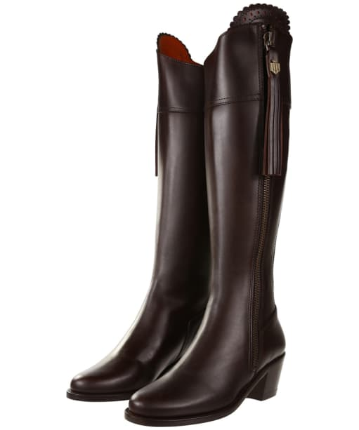 Women's Fairfax & Favor Regina Heeled Leather Boots - Mahogany Leather